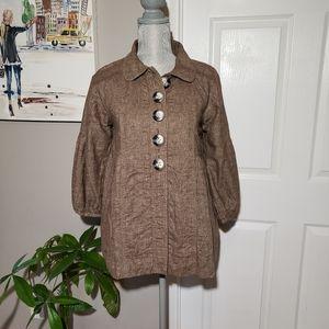 FREE PEOPLE cotton/linen blend button up coat
